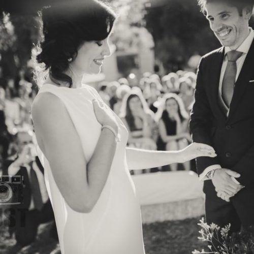 foto de boda, pareja sonriendo